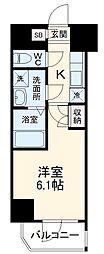 横浜市営地下鉄ブルーライン 阪東橋駅 徒歩4分の賃貸マンション 8階1Kの間取り