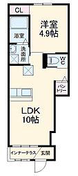 JR成田線 小見川駅 5.2kmの賃貸アパート 1階1LDKの間取り