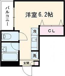 トライシブ南大井7 3階ワンルームの間取り