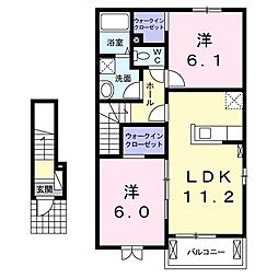 ポラリス2号館 2階2LDKの間取り
