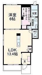 JR香椎線 宇美駅 バス14分 西鉄障子岳バス停下車 徒歩2分の賃貸アパート 1階1LDKの間取り