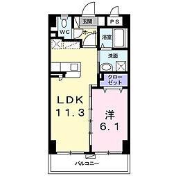 シャルマン リヴェール 2階1LDKの間取り