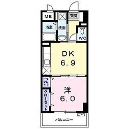 シャルマン リヴェール 8階1DKの間取り