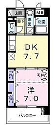 モダンテラス中央 6階1DKの間取り