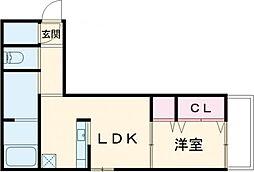 Cefiro 3階1LDKの間取り