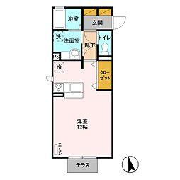 D-room Paseo 1階ワンルームの間取り