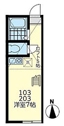 ユナイト東白楽ラ・フロリディータ 2階ワンルームの間取り