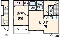 イースト・ピア 2階1LDKの間取り