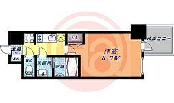 Osaka Metro谷町線 谷町九丁目駅 徒歩1分の賃貸マンション 2階1Kの間取り