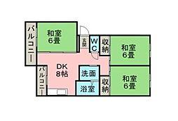 松ヶ浦コーポ[407号室]の間取り
