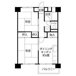 JKK東京 新田 4階2DKの間取り