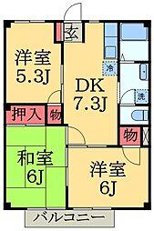千葉県千葉市緑区おゆみ野中央5丁目の賃貸アパートの間取り