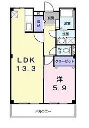 エミーユI 2階1LDKの間取り