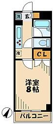 京王相模原線 京王多摩センター駅 徒歩3分の賃貸マンション 2階1Kの間取り