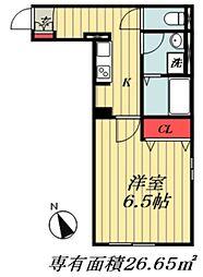東京メトロ東西線 妙典駅 徒歩12分の賃貸マンション 1階1Kの間取り