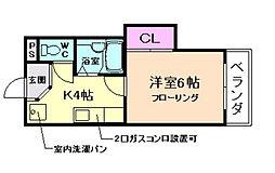 ハイツOKANO[1階]の間取り