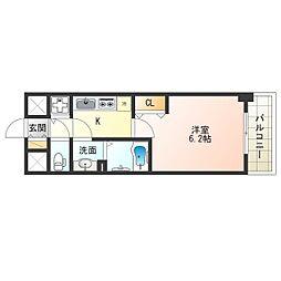 JR東西線 海老江駅 徒歩10分の賃貸マンション 10階1Kの間取り