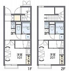 JR成田線 湖北駅 徒歩12分の賃貸アパート 2階1Kの間取り