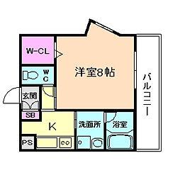 阪急神戸本線 十三駅 徒歩10分の賃貸マンション 3階1Kの間取り