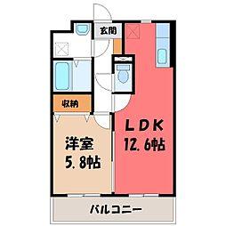 栃木県宇都宮市ゆいの杜5丁目の賃貸マンションの間取り