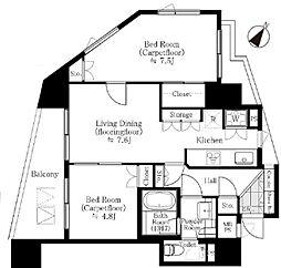 JR山手線 池袋駅 徒歩14分の賃貸マンション 10階2LDKの間取り