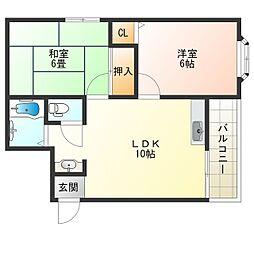 Osaka Metro中央線 九条駅 徒歩8分の賃貸マンション 2階2LDKの間取り