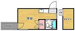 モナーク姪浜[205号室]の間取り