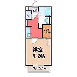 栃木県宇都宮市松原3丁目の賃貸アパートの間取り