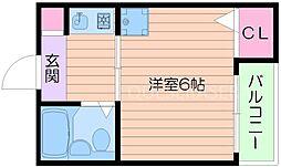 阪急千里線 千里山駅 徒歩12分の賃貸アパート 1階1Kの間取り