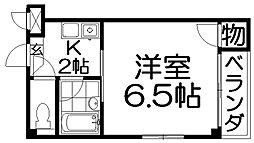 ラ・シャンブル香里 3階1Kの間取り