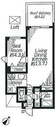 東京メトロ千代田線 明治神宮前駅 徒歩6分の賃貸マンション 2階1LDKの間取り