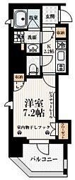 アトラス新宿左門町 8階1Kの間取り
