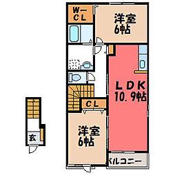 栃木県宇都宮市下田原町の賃貸アパートの間取り