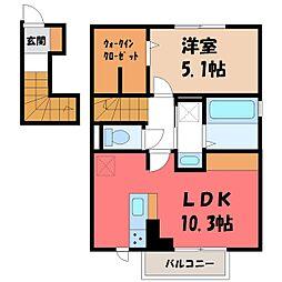 JR日光線 鶴田駅 徒歩3分の賃貸アパート 2階1LDKの間取り