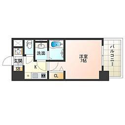 阪神なんば線 九条駅 徒歩9分の賃貸マンション 7階1Kの間取り