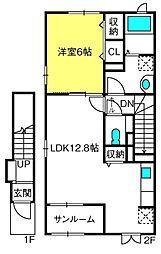 モダン・サニー・レジデンスII 2階1LDKの間取り