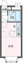 ベルピア・北本第1 2階ワンルームの間取り