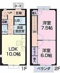 三重県松阪市内五曲町の賃貸アパートの間取り