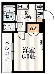京王線 幡ヶ谷駅 徒歩3分の賃貸マンション 3階1Kの間取り