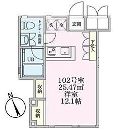 JR南武線 矢向駅 徒歩2分の賃貸マンション 1階ワンルームの間取り