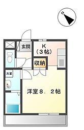 JR東海道本線 豊橋駅 バス13分 つつじが丘一丁目下車 徒歩1分の賃貸アパート 2階ワンルームの間取り
