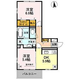 南海高野線 千代田駅 徒歩11分の賃貸アパート 3階2DKの間取り