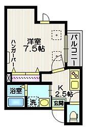 東急池上線 長原駅 徒歩3分の賃貸マンション 2階1Kの間取り