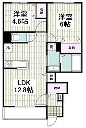 小田急江ノ島線 湘南台駅 バス21分 堂の前下車 徒歩2分の賃貸アパート 1階2LDKの間取り