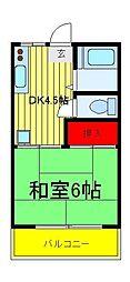 千葉県柏市西柏台2丁目の賃貸アパートの間取り