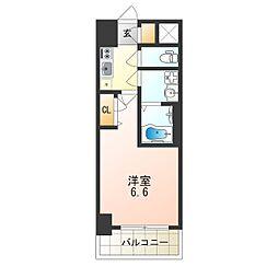 レジュールアッシュTAISHO LEGANT 6階1Kの間取り