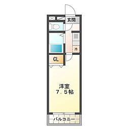 細川ハイツMONET 1階1Kの間取り