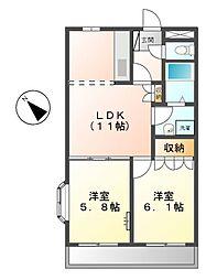 愛知県豊田市宮上町5丁目の賃貸アパートの間取り