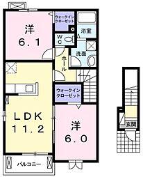 JR五日市線 武蔵五日市駅 徒歩20分の賃貸アパート 2階2LDKの間取り