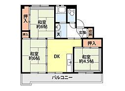ビレッジハウスひだのもり 2号棟[3階]の間取り